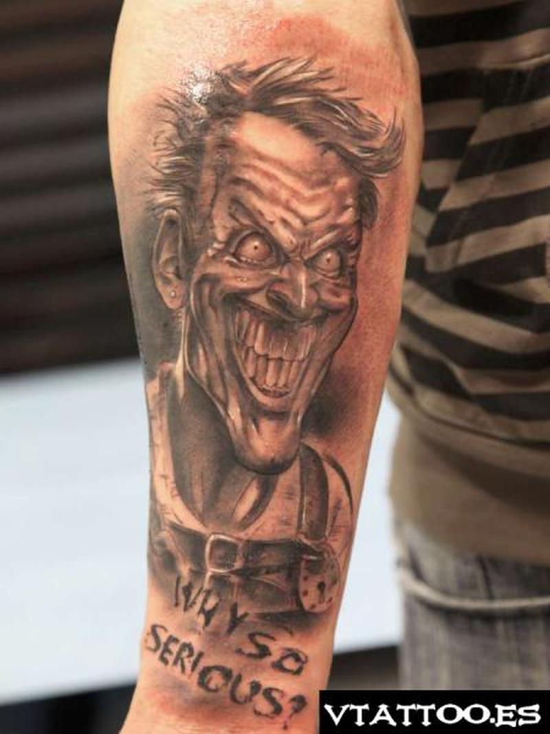Why so serious evil joker tattoo design
