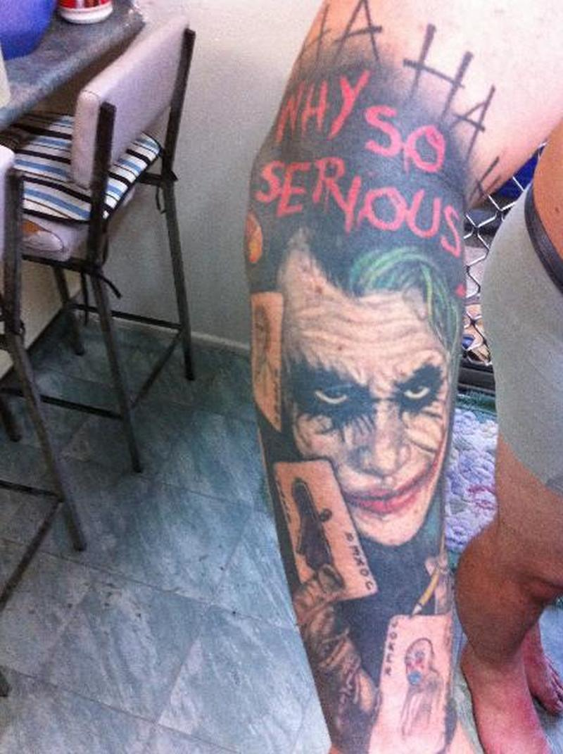 Why so serious joker sleeve tattoo design