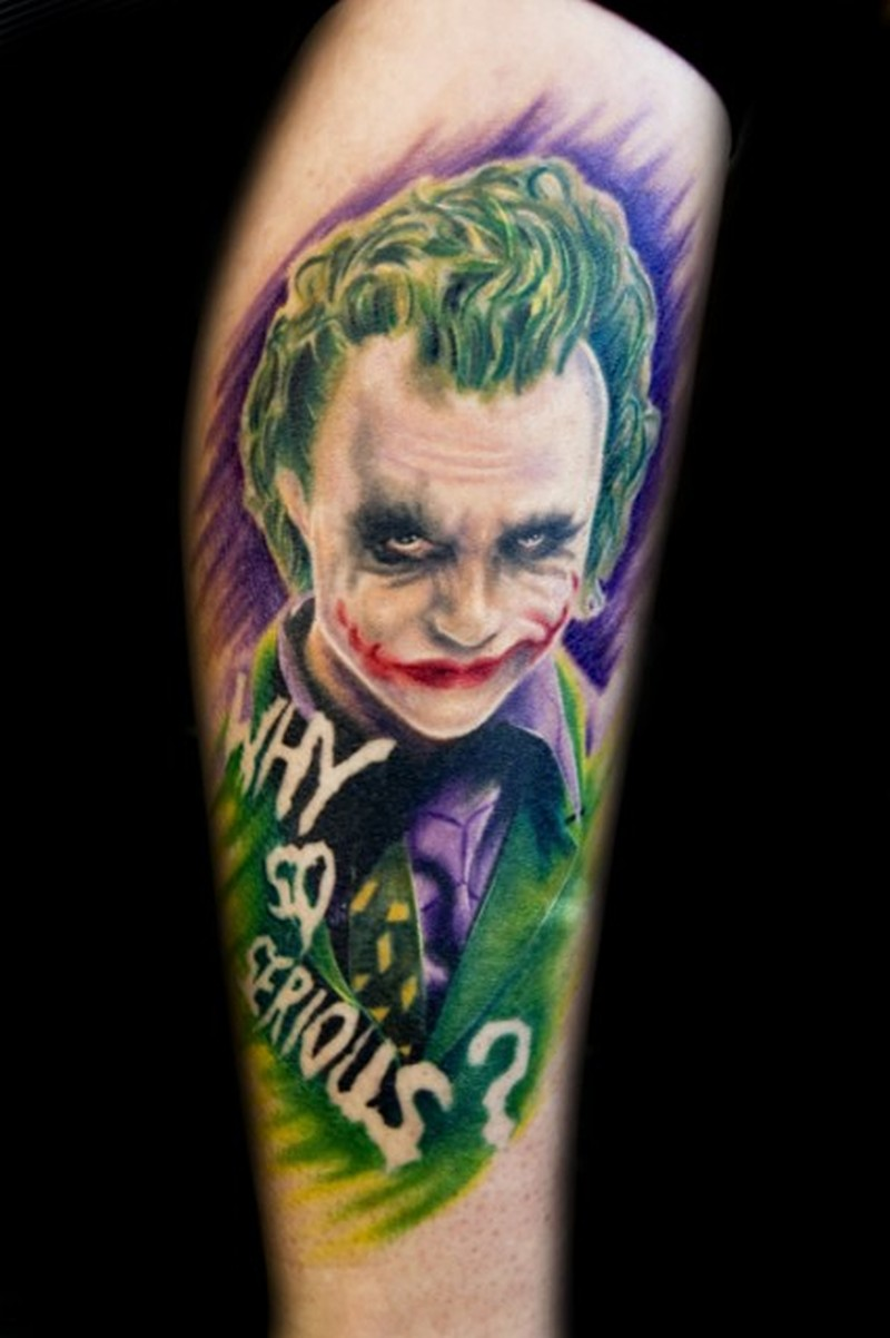 Why so serious joker tattoo on leg