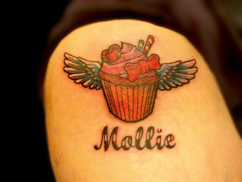 Winged cup cake tattoo design 2