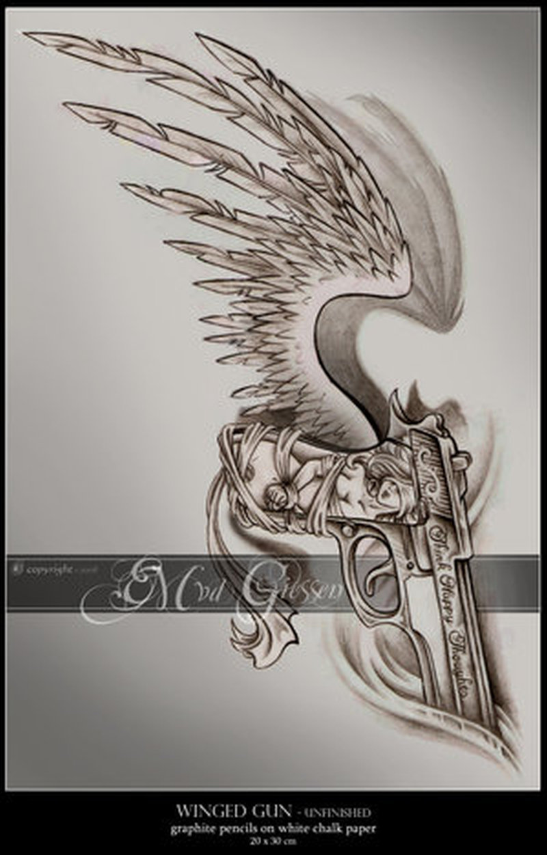 Winged gun tattoo picture