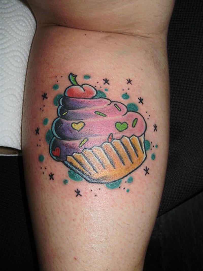 Wonderful cherry cake tattoo