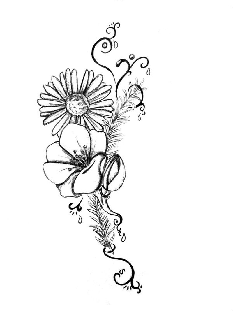 Wonderful flower tattoo stencil