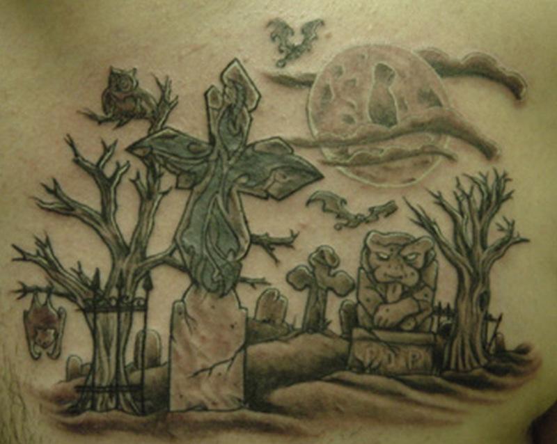 Wonderful graveyard tattoo design