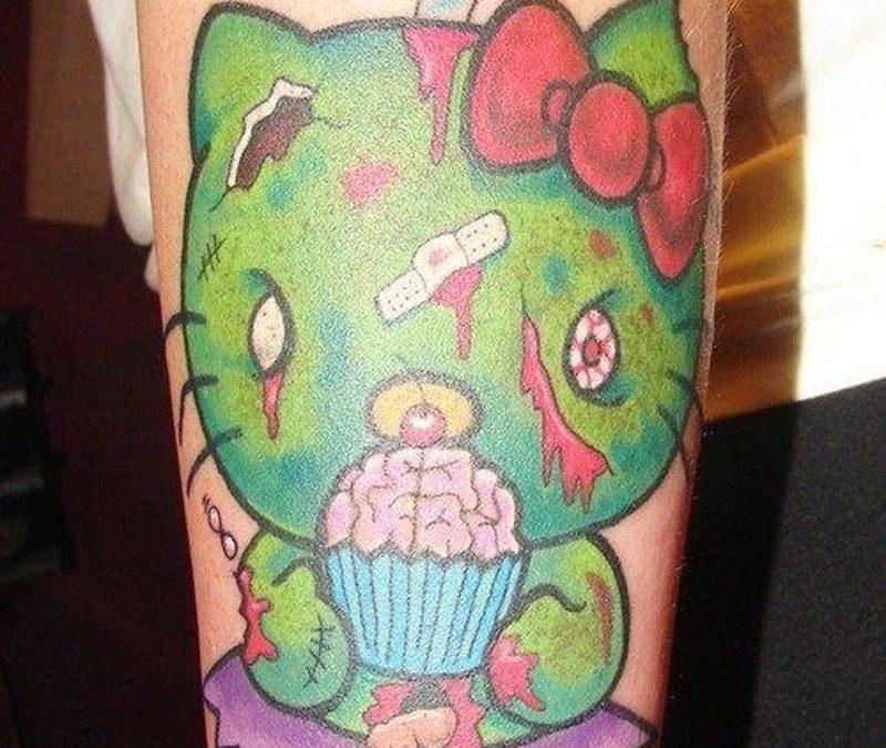 Zombi hello kitty forearm tattoo