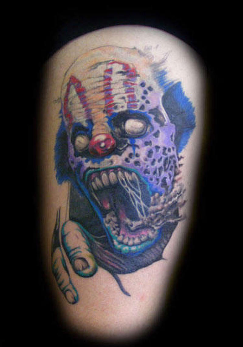 Zombie clown tattoo image