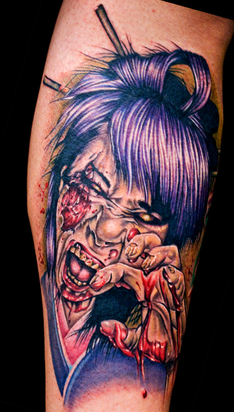 Zombie geisha tattoo design 2