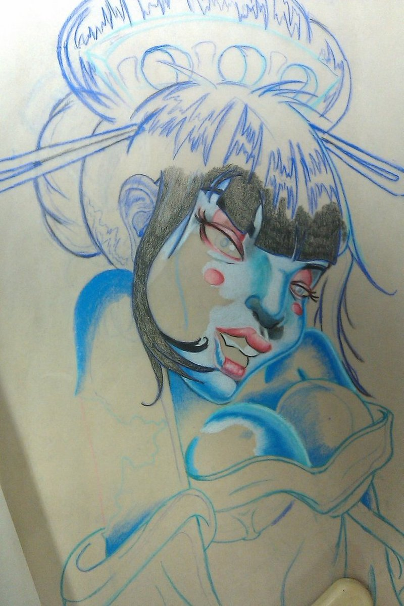 Zombie geisha tattoo design 3