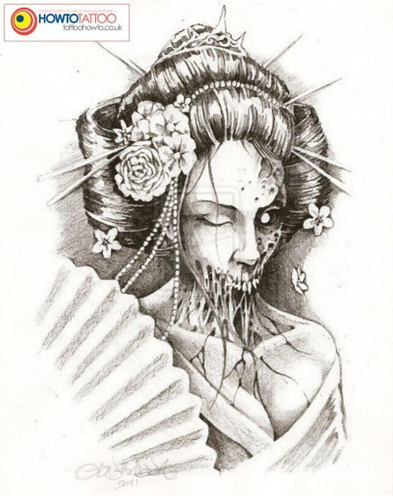 Zombie geisha tattoo design 4