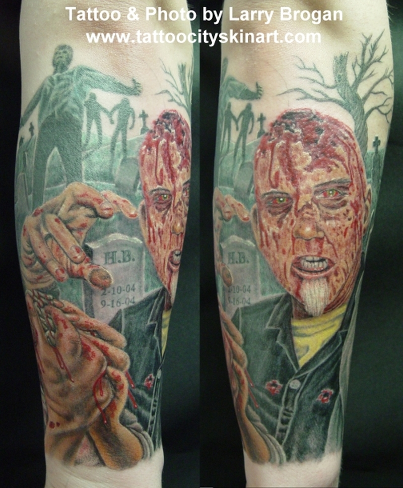 Zombie graveyard tattoo design