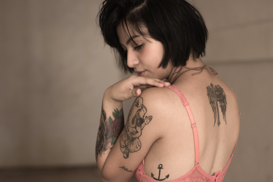 Woman Back Shoulder Arm Forearm Rose Tattoos